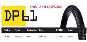 DUTCH PERFECT PNEU 20X1.75 SRI 61 - ANTICREVAISON 5MM