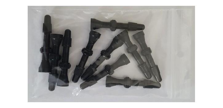 Bear - Sachet de 10 valves tubeless universelles - 34 mm - Vrac - Alu - Noires
