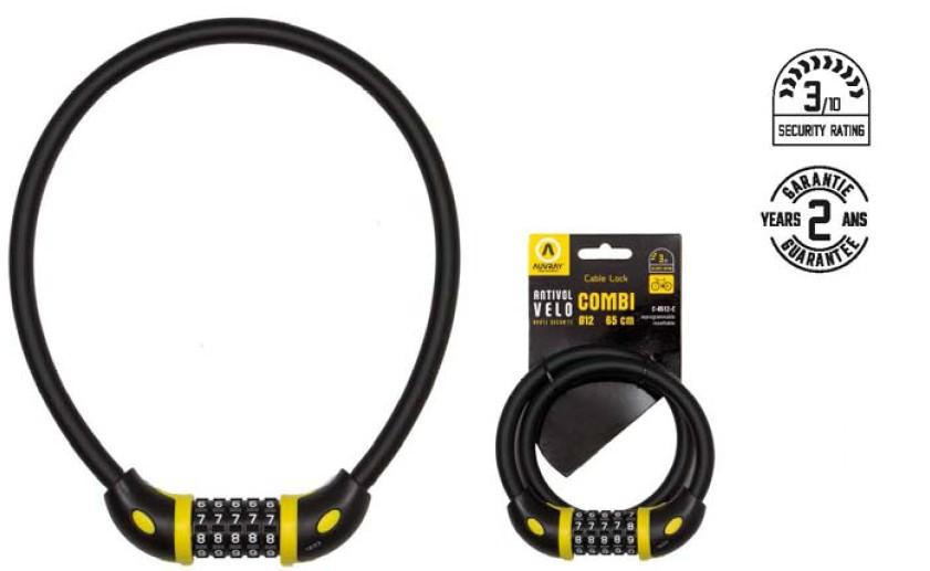 Auvray antivol câble à combinaison 65cm - Ø12 NOIR