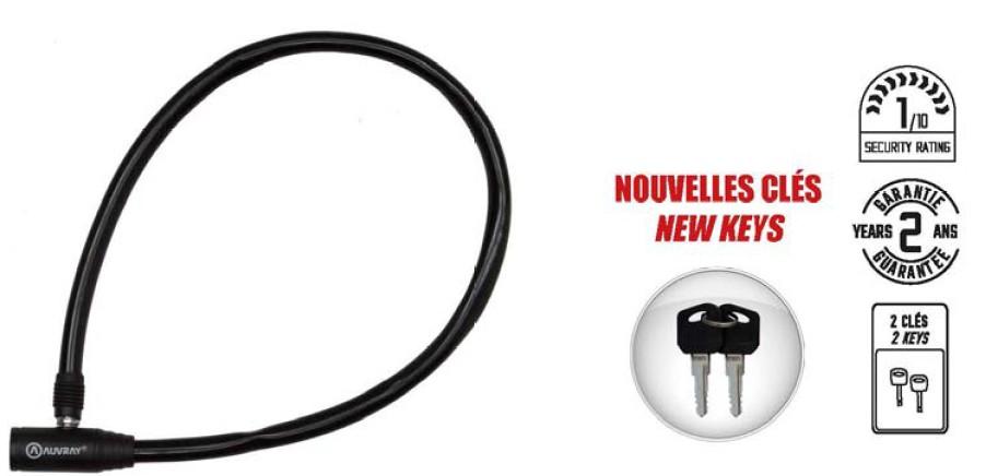 Auvray antivol câble à clé 65cm - Ø5 NOIR